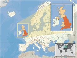 Map of England showing its location in Europe