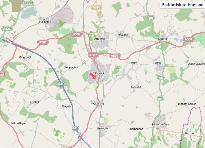 Large Bedfordshire England Map