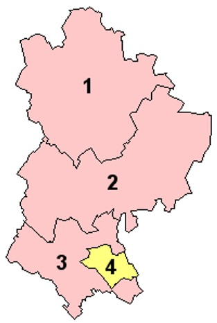 Map of the Districts of Bedfordshire England