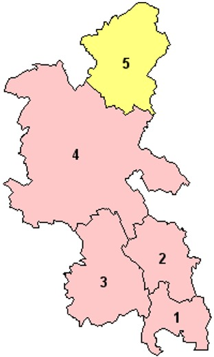 Map of the Districts of Buckinghamshire England