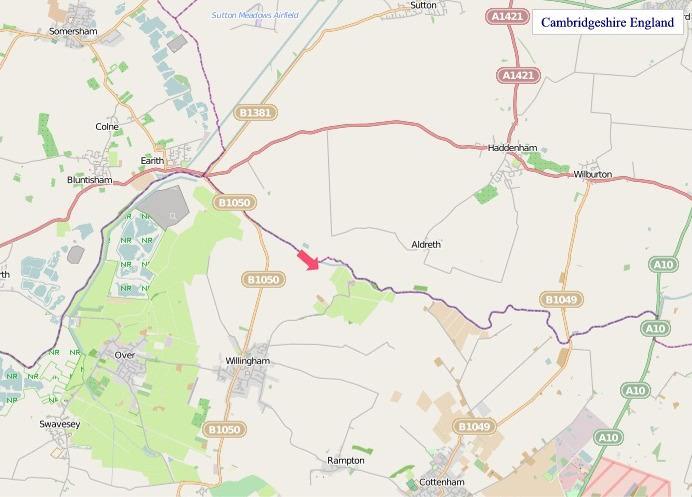 Large Cambridgeshire England map