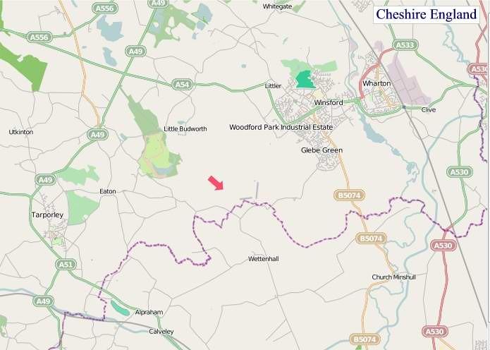 Large Cheshire England map