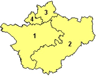 Map of the Districts of Cheshire England