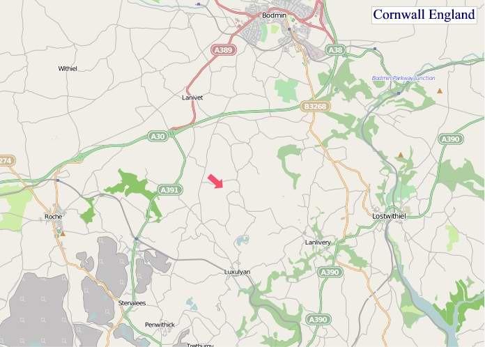Large Cornwall England map
