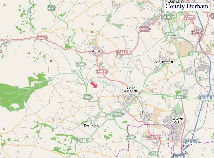 Large County Durham England map