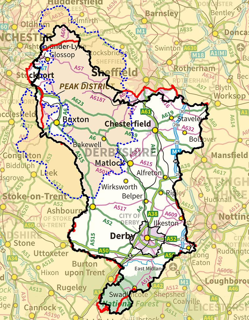 Large detailed Derbyshire England map
