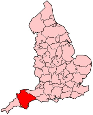 Map of the location of Devon County in England