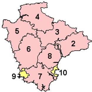 Map of the Districts of Devon County England
