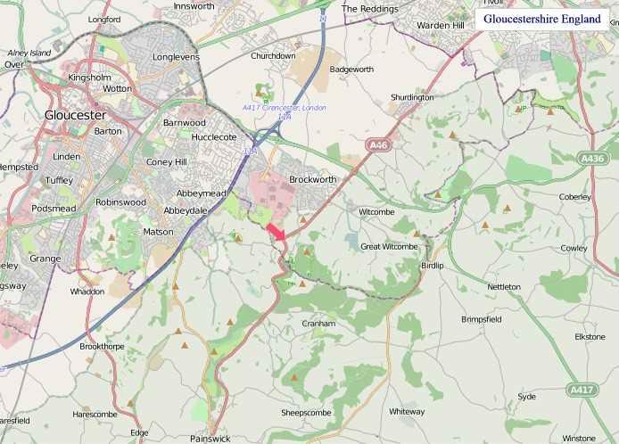 Large Gloucestershire England map