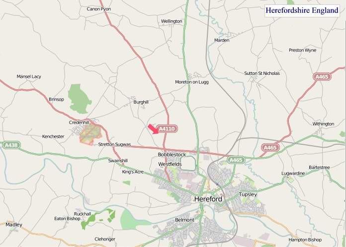 Large Herefordshire England map