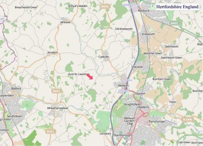 Large Hertfordshire England map