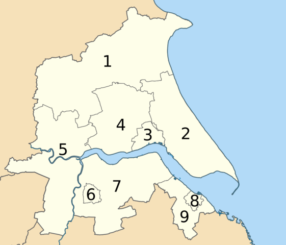 Districts of Humberside 1974 to 1996 map