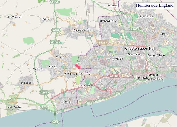 Large Humberside England map