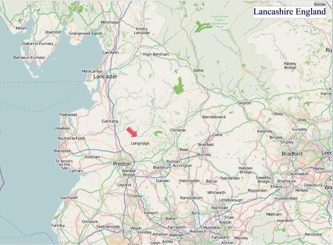 Large Lancashire England map