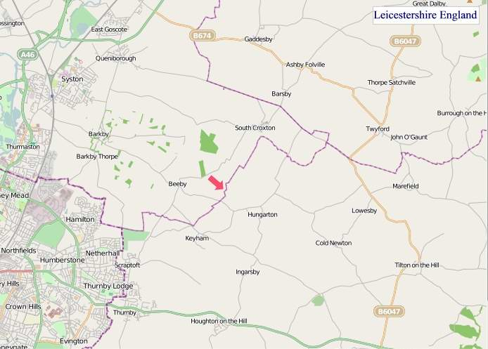 Large Leicestershire England map