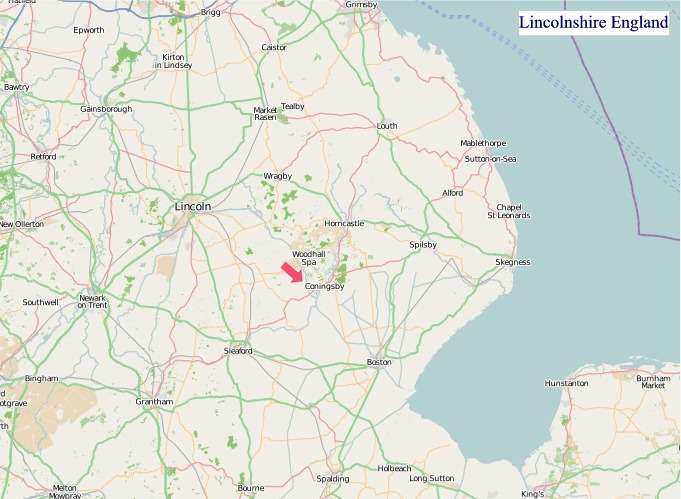 Large Lincolnshire England map