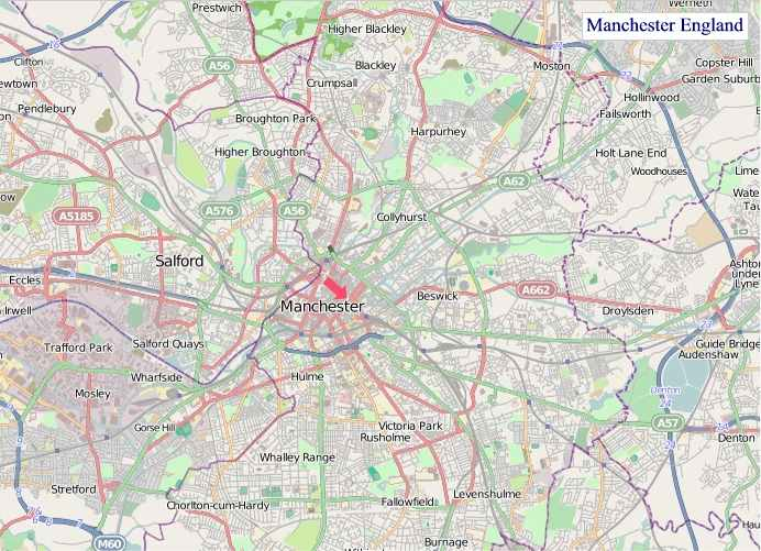 Large Manchester England map