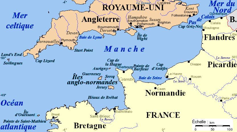 English Channel Map with French nomenclature