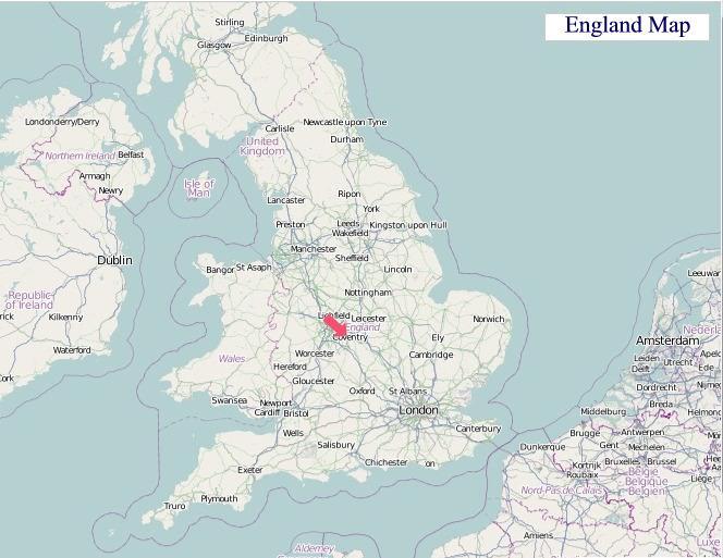 Large Map of England, United Kingdom