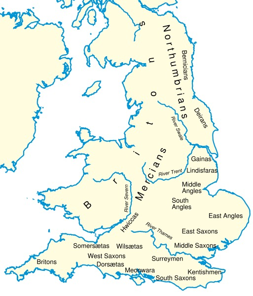 Kingdoms and Tribes of England and Wales circa AD 600 map
