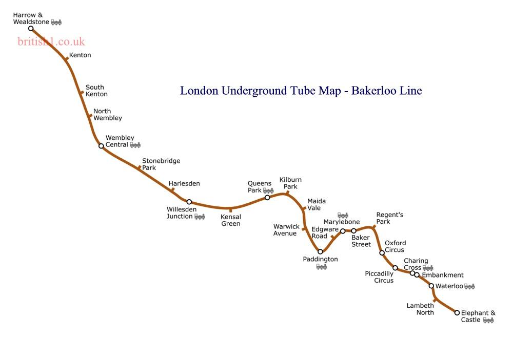 London Underground Tube Map - Bakerloo Line