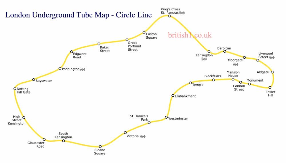 London Underground Tube Map - Circle Line