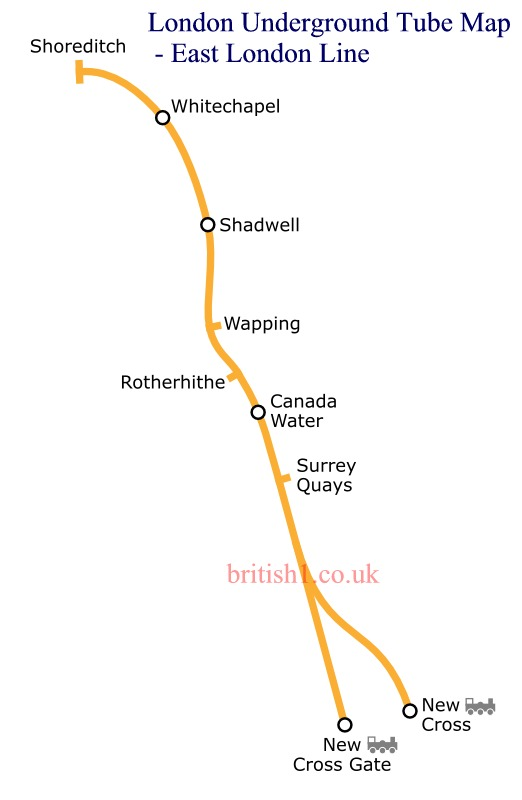 London Underground Tube Map - East London Line