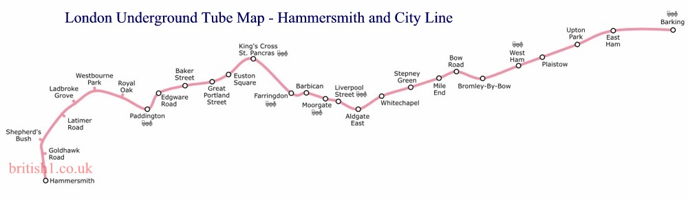 Hammersmith And City Line Map London Underground Tube Map   Hammersmith and City Line Map