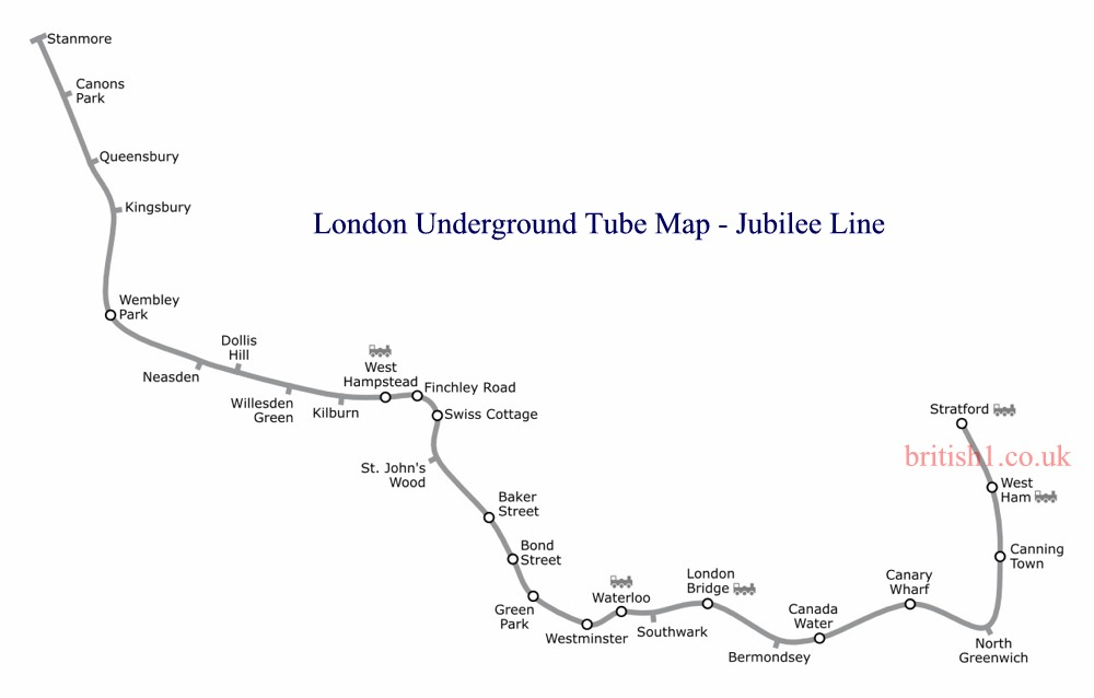 London Underground Tube Map - Jubilee Line
