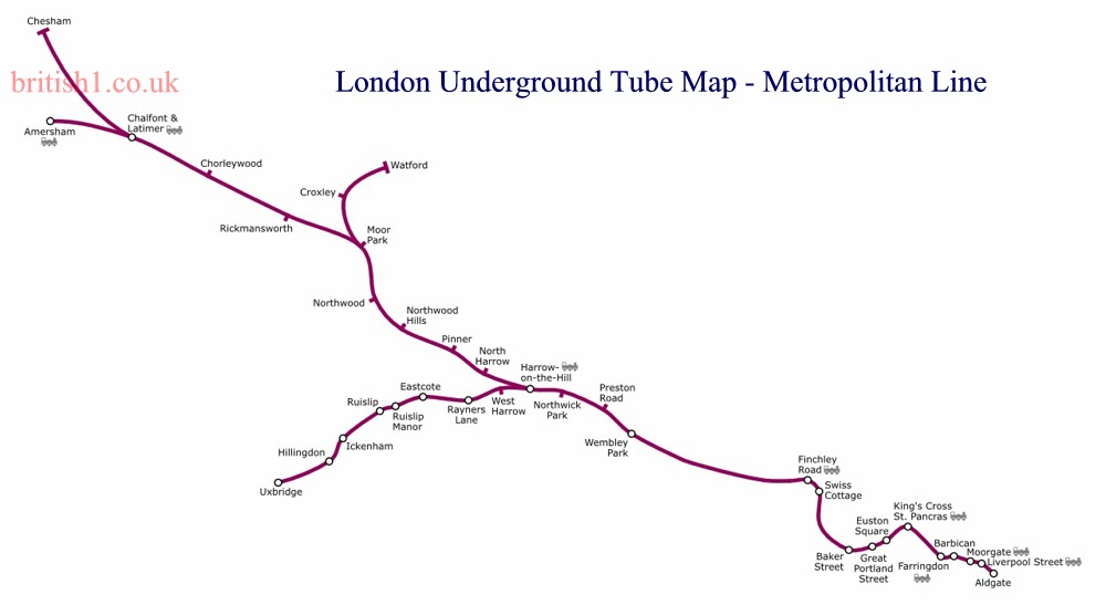London Underground Tube Map - Metropolitan Line