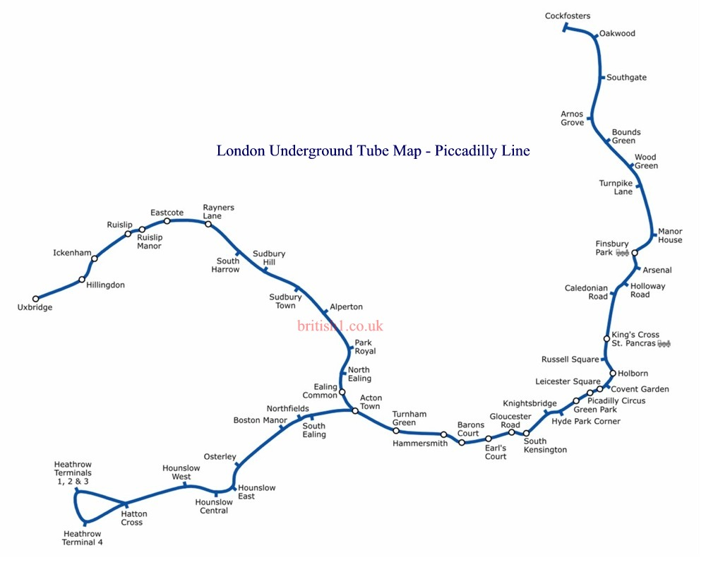 London Underground Tube Map Piccadilly Line