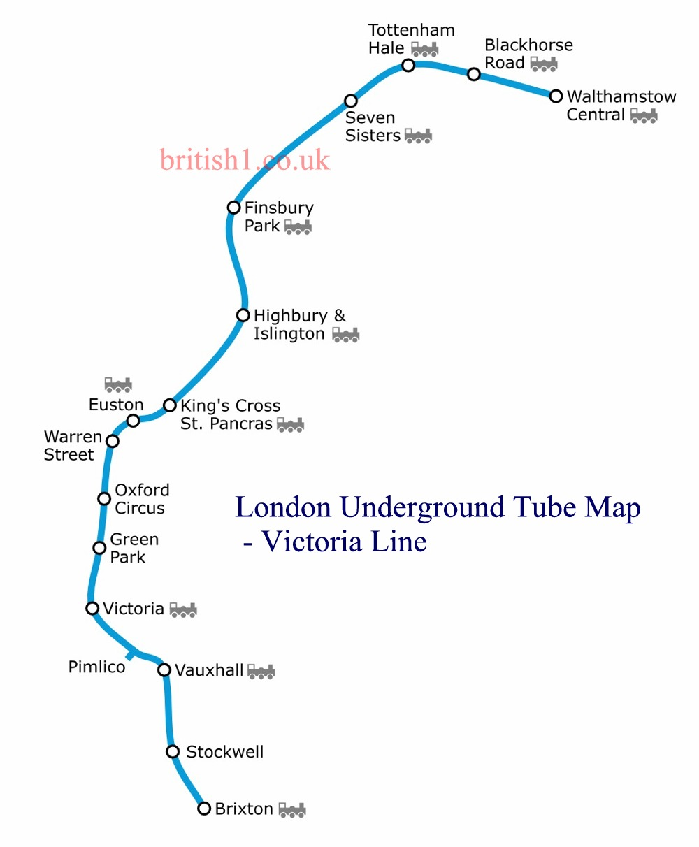 London Underground Tube Map - Victoria Line