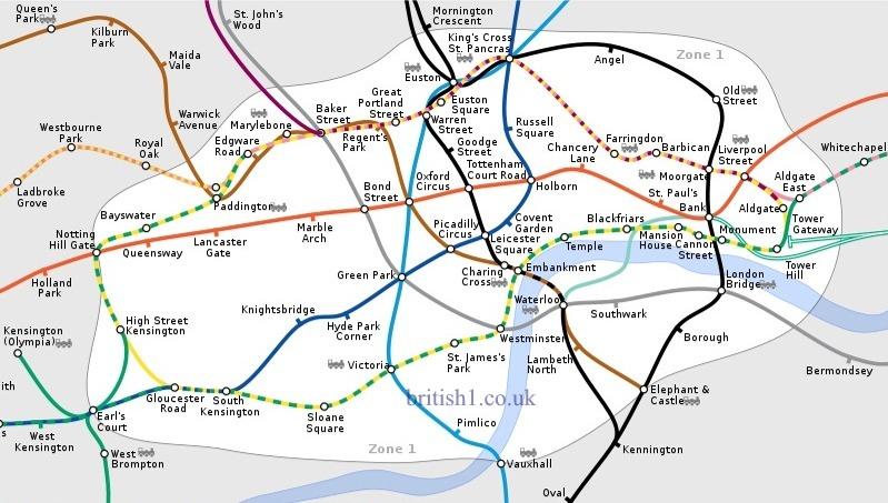 London Underground Tube Map Zone One