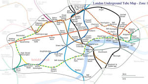 London Underground Tube Map - Zone 1