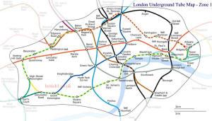 London Underground Tube Map - Zone 1