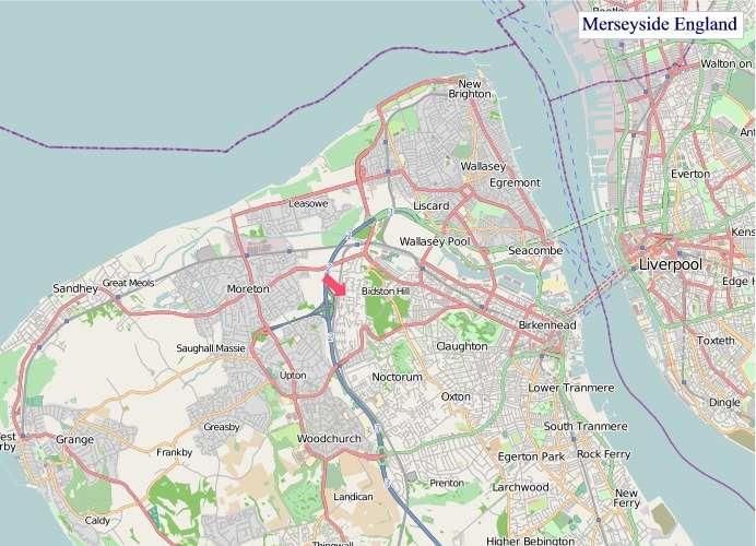 Large Merseyside England map