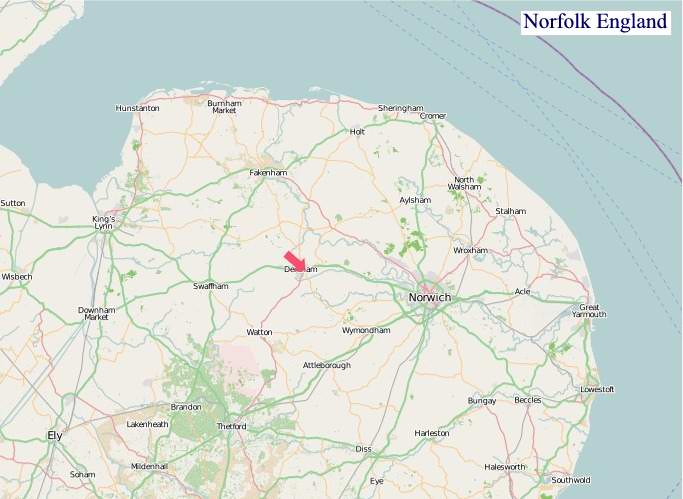 Large Norfolk England map
