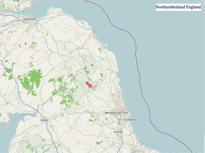 Large Northumberland England map