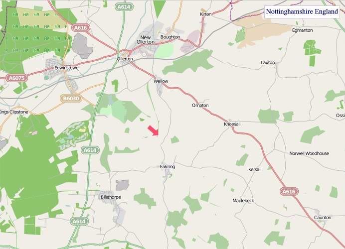 Large Nottinghamshire England map