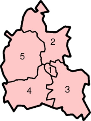 Map of the Districts of Oxfordshire County England