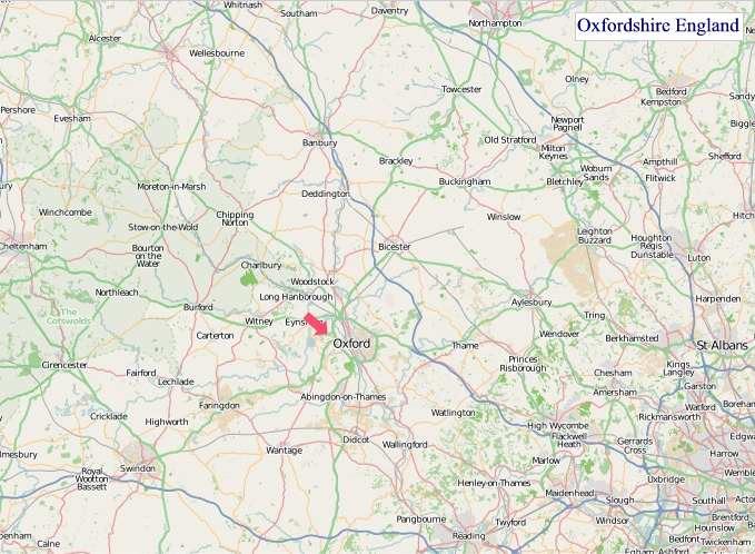 Large Oxfordshire England map