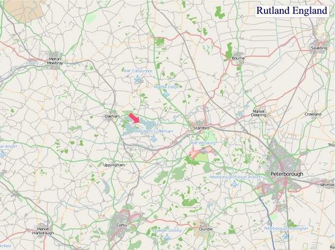 Large Rutland England map