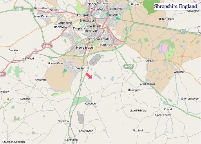 Large Shropshire England map