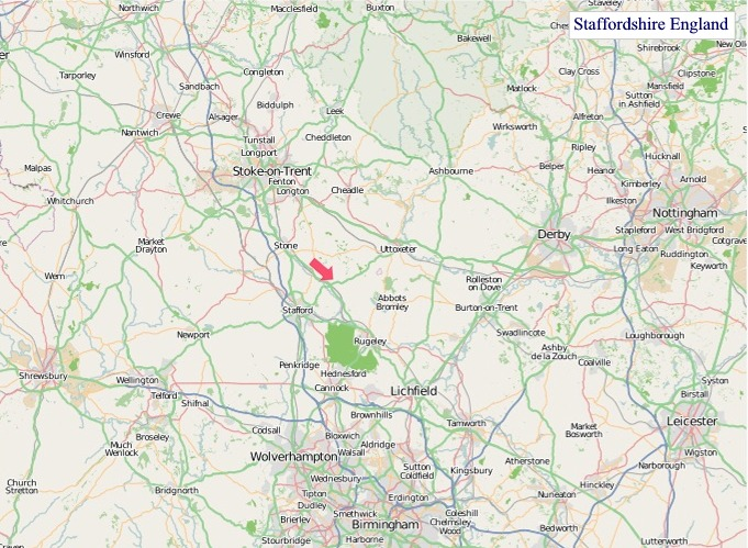 Large Staffordshire England map
