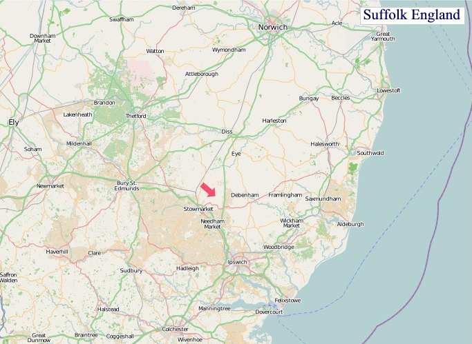 Large Suffolk England map