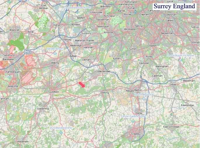Large Surrey England map