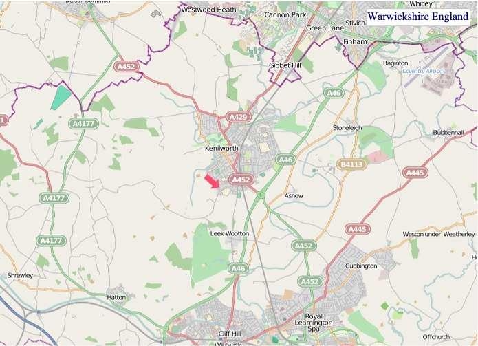Large Warwickshire England map