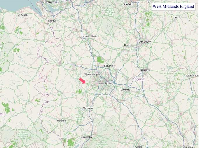 Large West Midlands England map