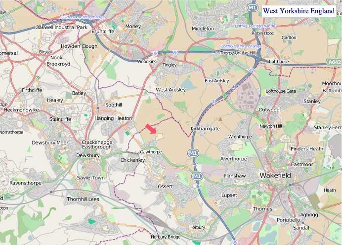 Large West Yorkshire England map
