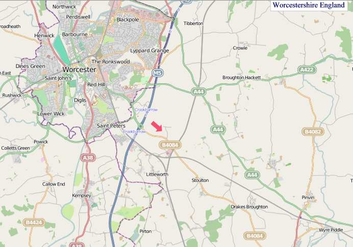 Large Worcestershire England map
